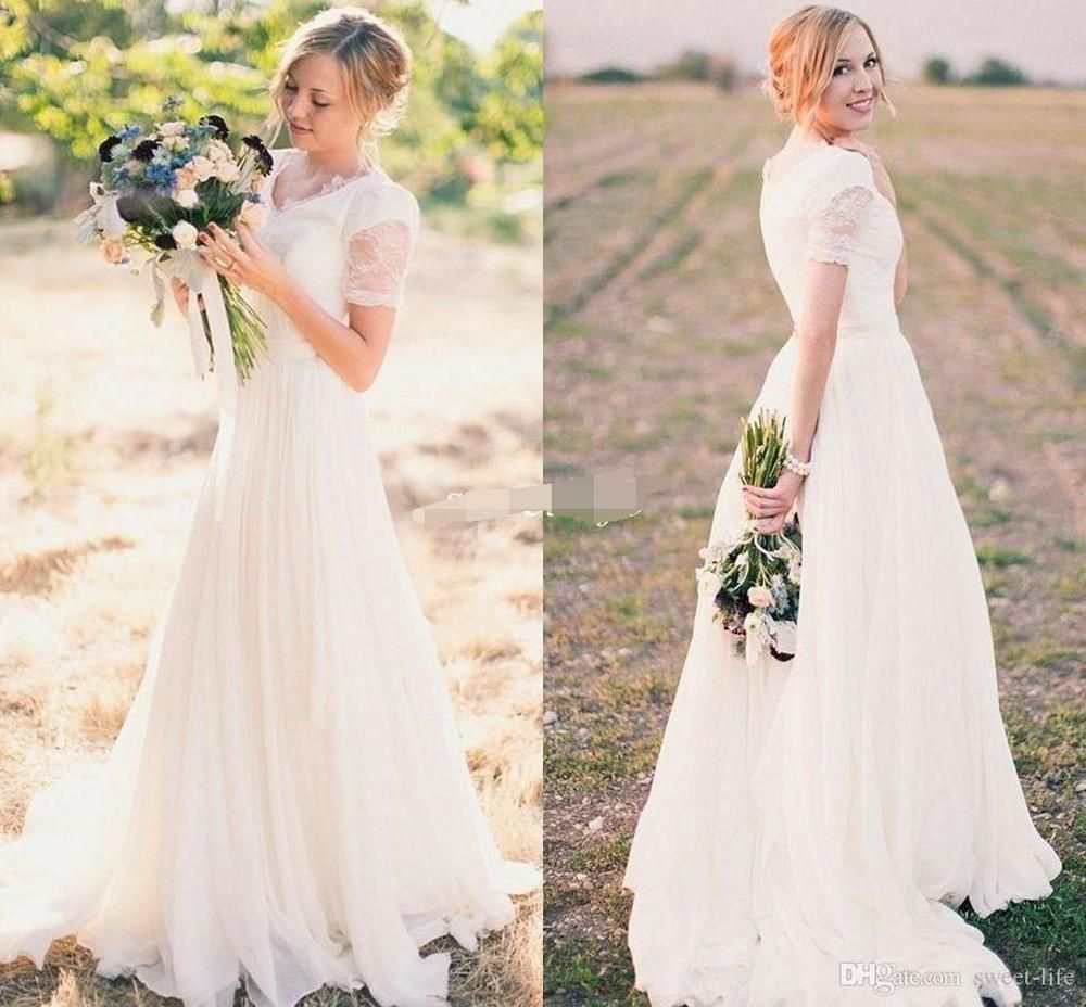 Ivory wedding dresses with sleeves  New Modest Long White Ivory Wedding Dress Bridal Gown Custom Size
