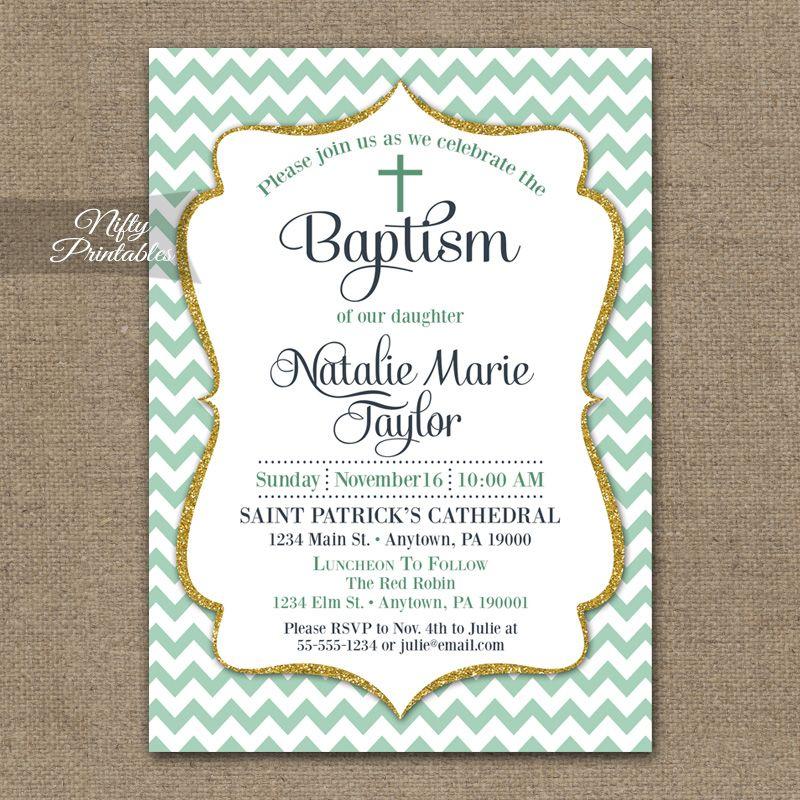 Mint Chevron Baptism Invitations