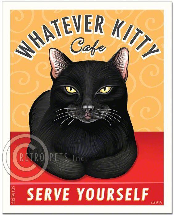 cat art whatever kitty art print by krista brooks