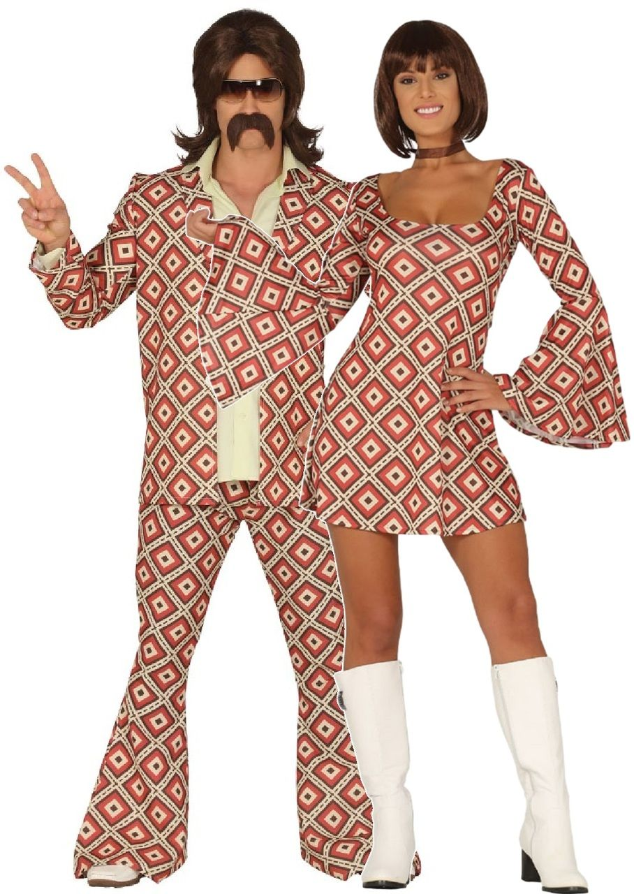 Couples Vintage Disco Dancers Fancy Dress Costumes In 2020 70s Party Outfit Matching Couple Outfits 70s Disco Outfit