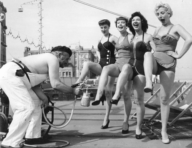 Beachwear  Six decades ago, one-piece bathing suits were de rigeur, and a bathing cap would complete the look.