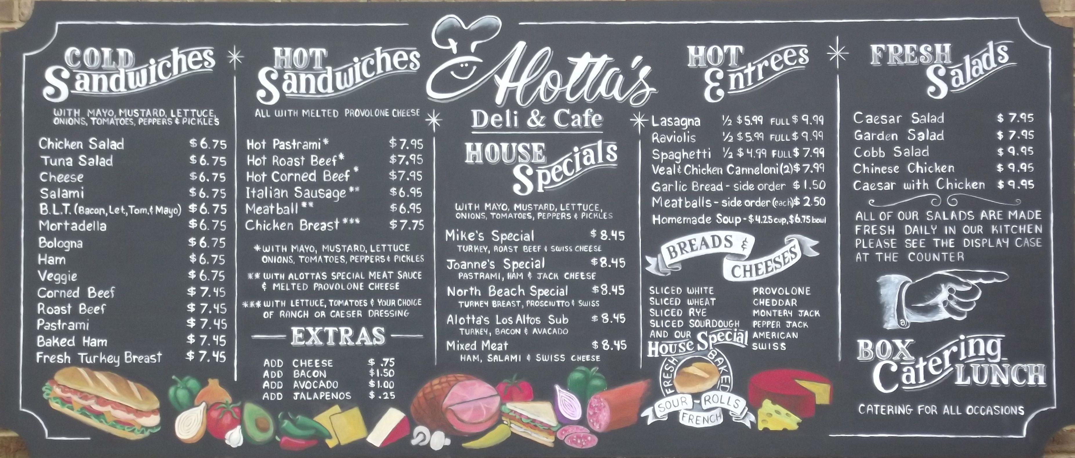 Alotta s Deli in Los Altos CA new chalkboard menuboard by ArtFX