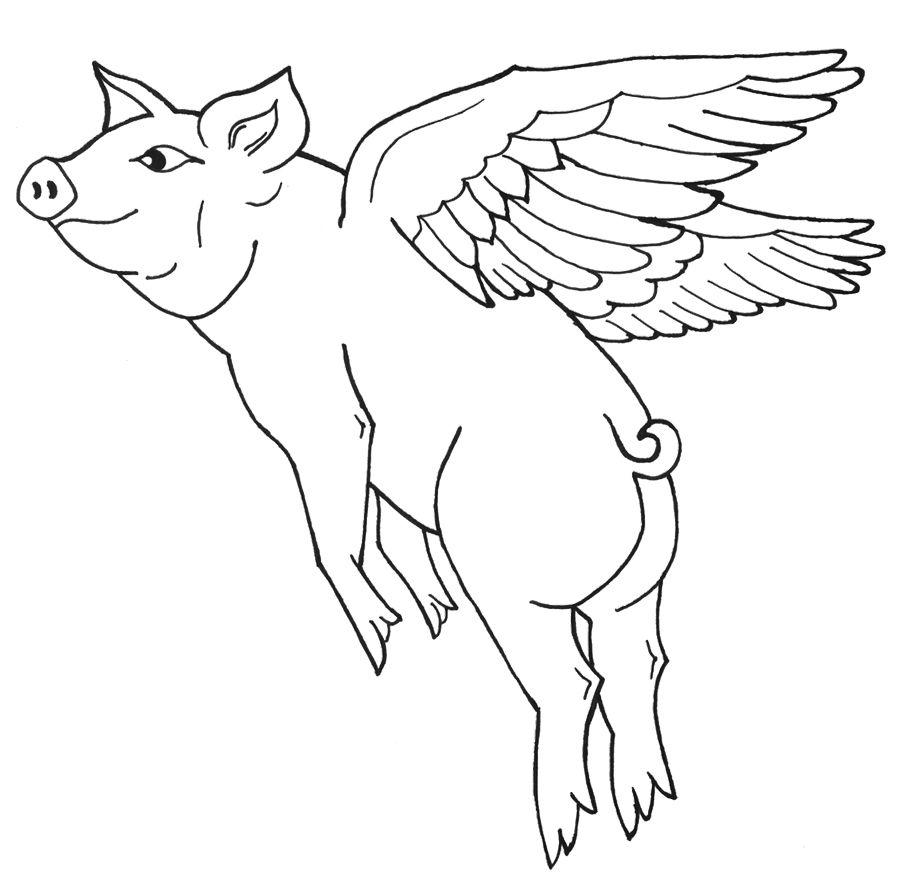 Flying Pig Coloring Pages When Pigs Fly Pinterest Animal