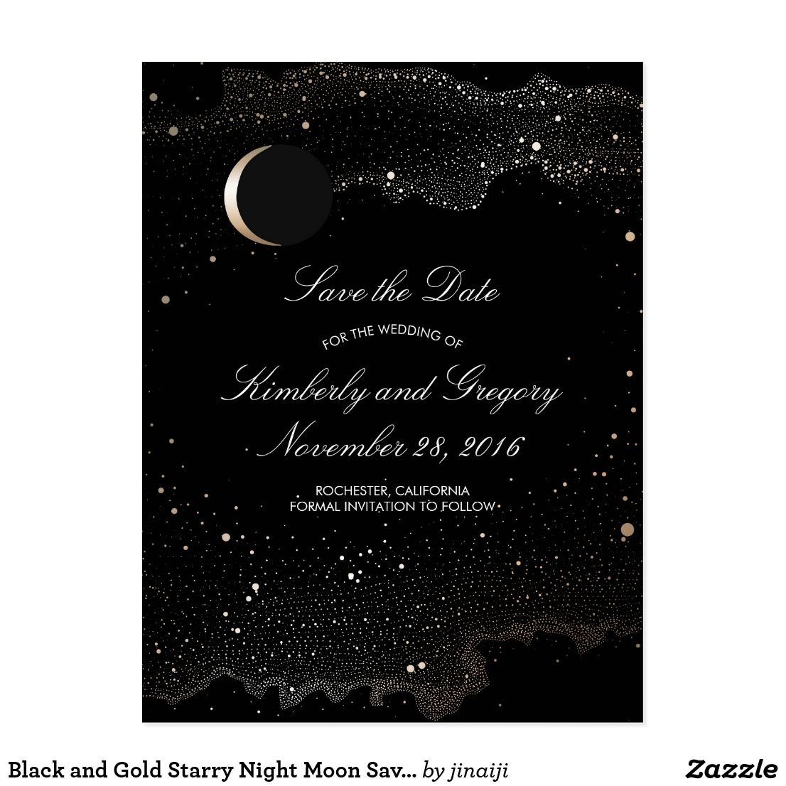 Black And Gold Starry Night Moon Save The Date Save The Date