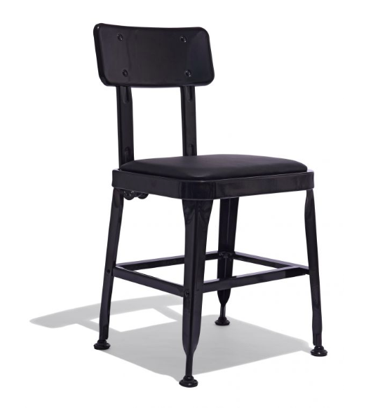 Retro Black Metal Chair Upholstered Black Leather Seat
