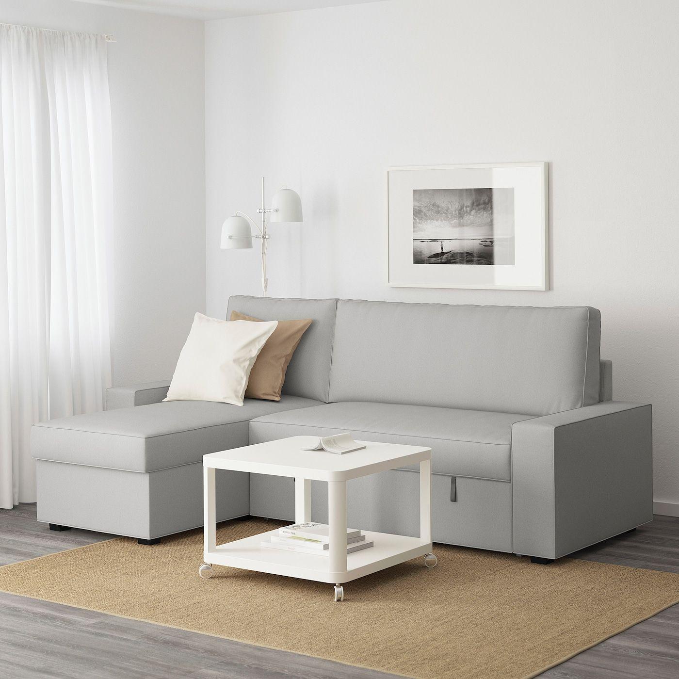 VILASUND Sofá cama con chaiselongue, Orrsta gris claro