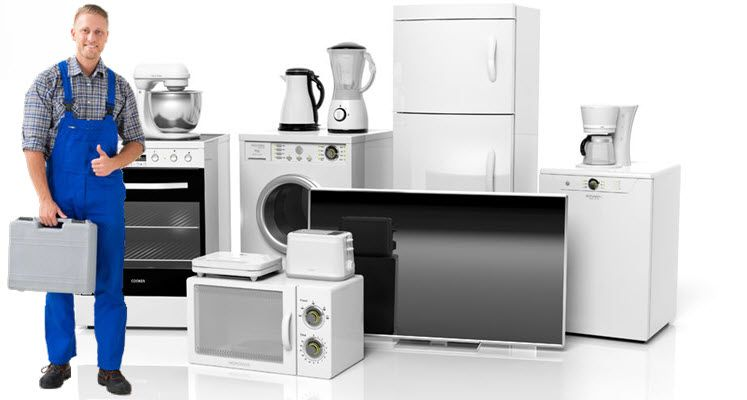 Set Of Home Appliances With Sparkle Appliance Repair Technician Appliance Repair Service Appliance Repair Washing Machine Repair