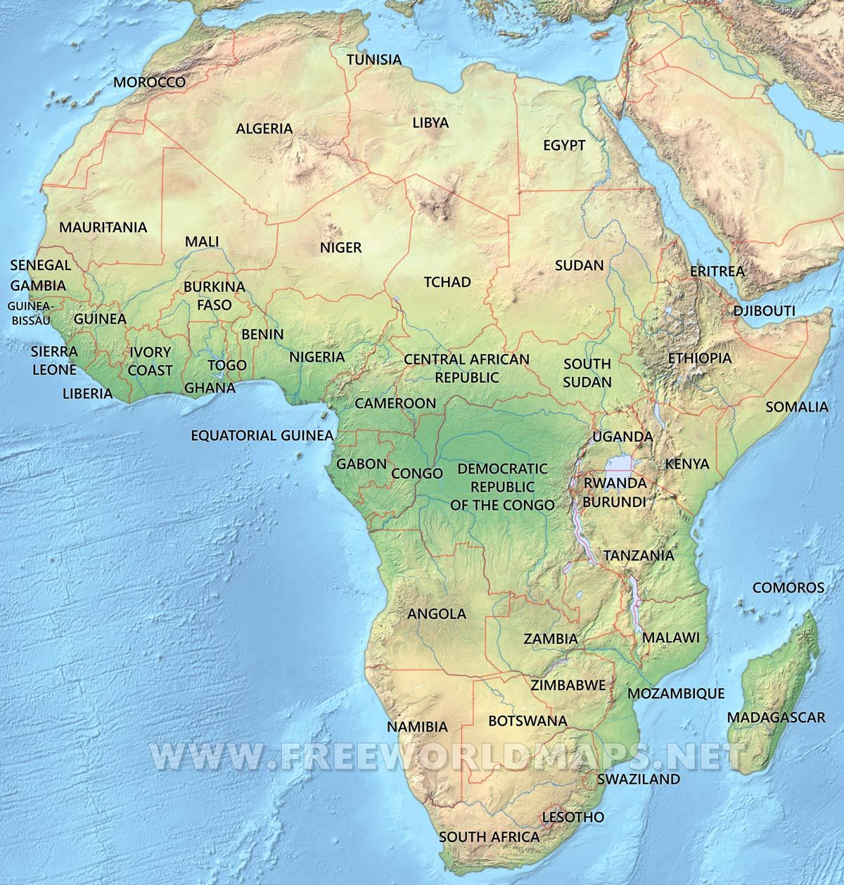 africa physical map Maps