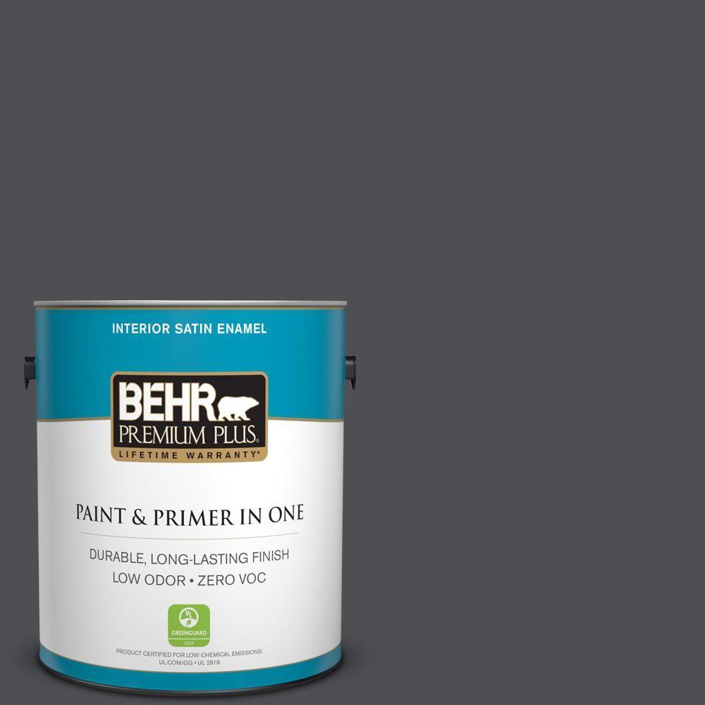 BEHR Premium Plus 1 gal. #PPU18-01 Cracked Pepper Zero VOC Satin Enamel Interior Paint