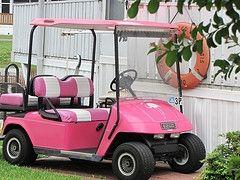 Pink golf cart! Love it!