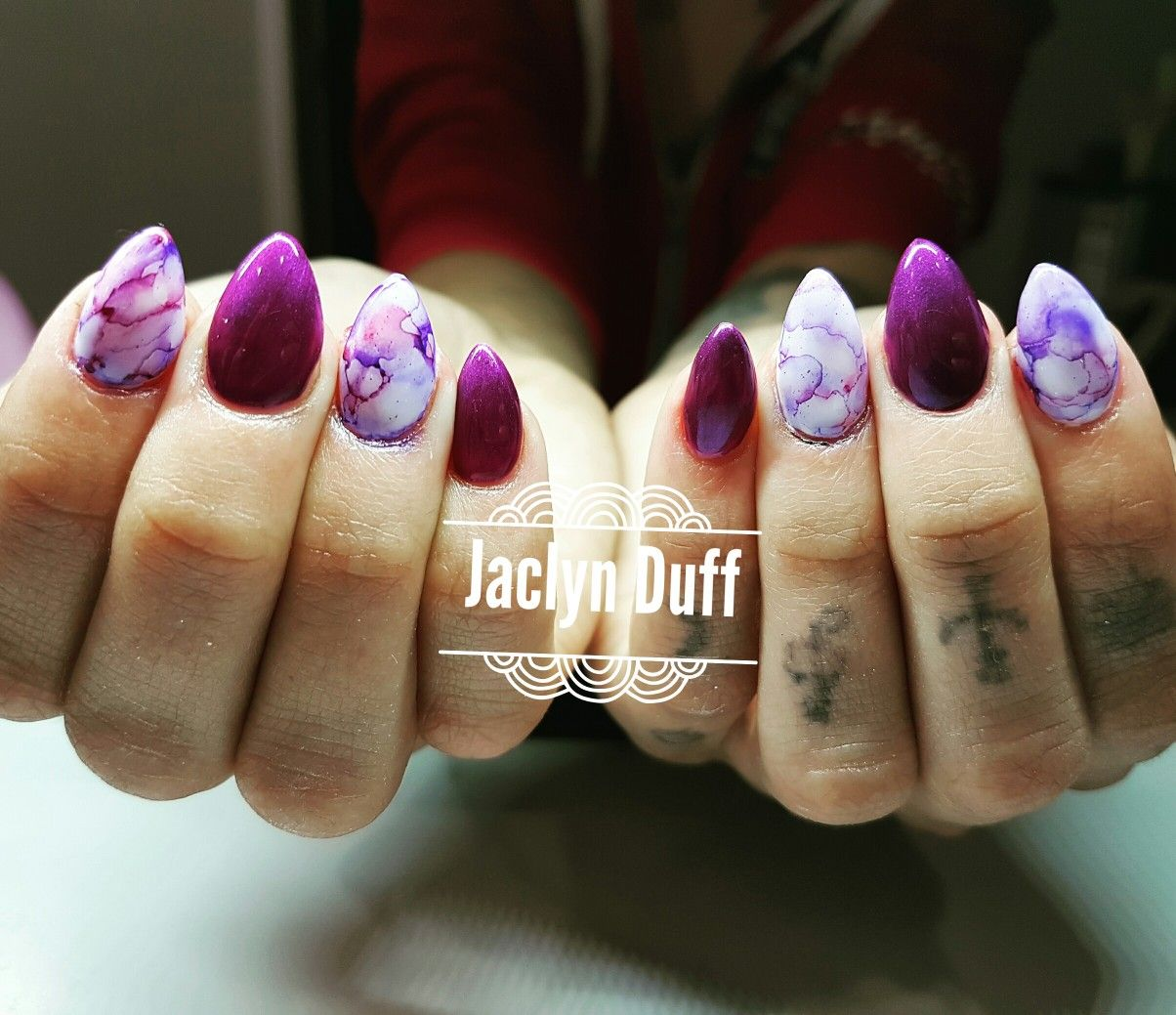 Marble nail design , almond nails in deep purple | Nails By Jaclyn ...