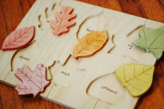 Wooden Leaf Puzzle - Fall Colors