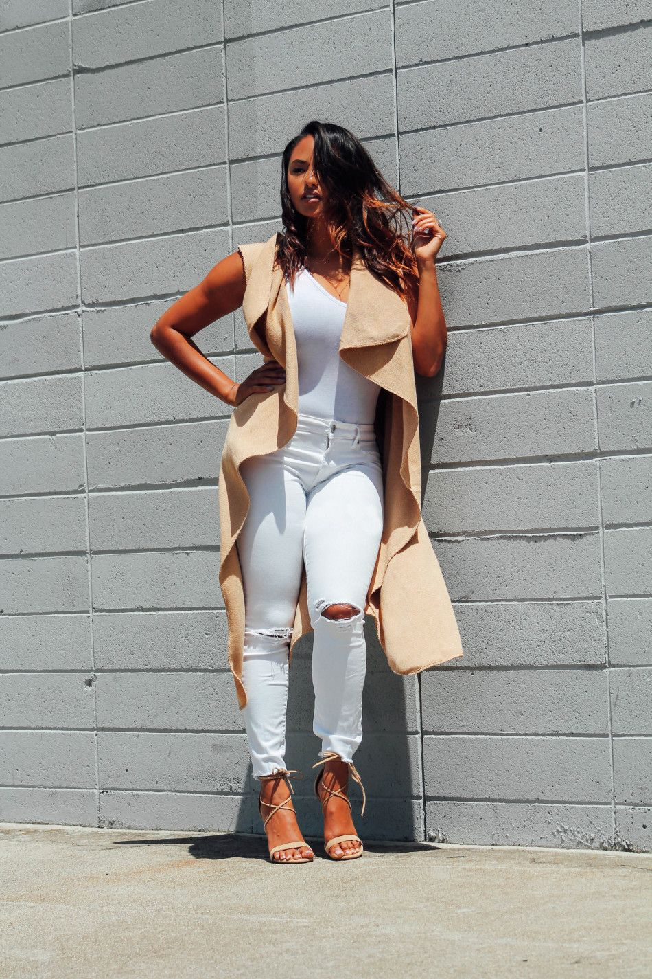 707f2e8b5b77f Boohoo camel duster waistcoat and bodysuit | J Brand jeans (old) | Steve  Madden sandals Added a new layer to the bodysuit and jean combo that I've  been ...