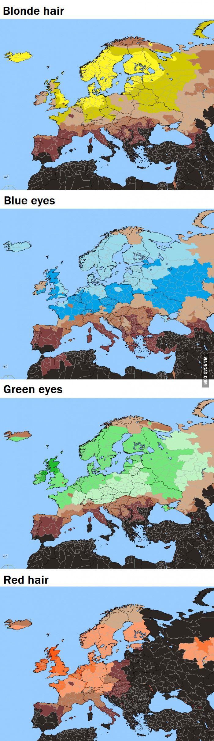 Blonde hair red hair blue eyes In Europe World Stats