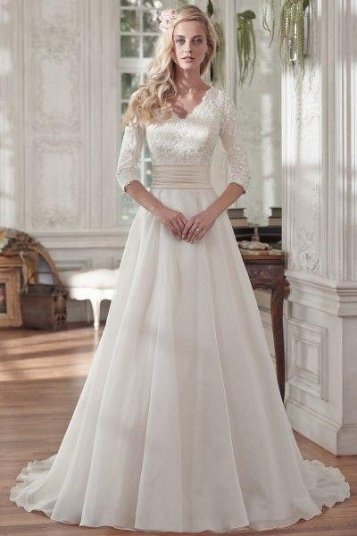 Casual Half-Sleeve Chiffon V-neck Princess Court Train Lace Princess ...