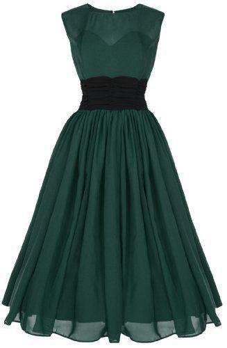 Lindy Bop \'Serena\' Elegant Vintage 1950\'s Chiffon Prom Dress / Ball ...