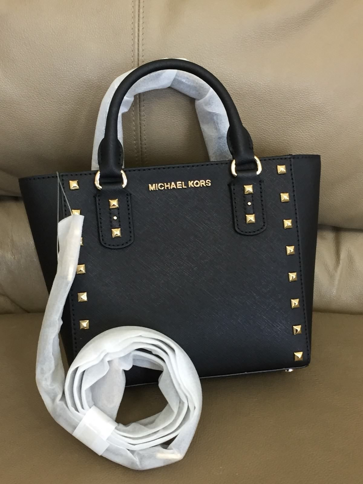 ed3b499b6d0b MICHAEL KORS SANDRINE STUD Small Crossbody Satchel Bag BLACK Saffiano  Leather