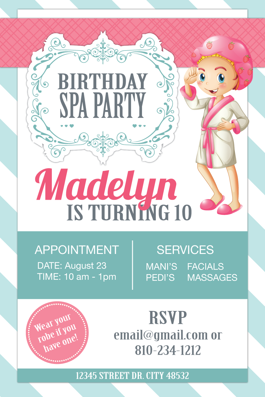 Birthday Spa Party Invitation For 10 Year Old
