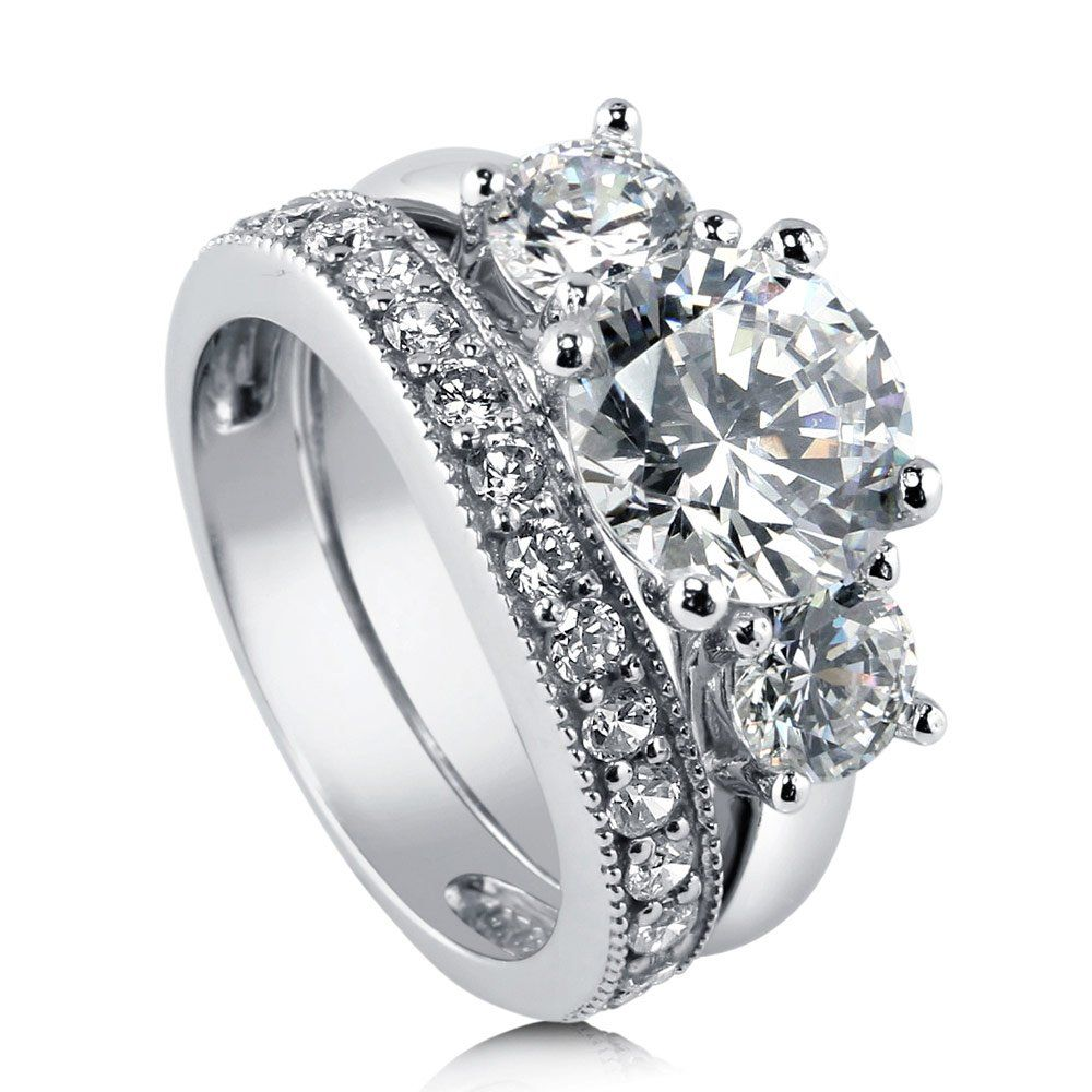 BERRICLE Sterling Silver 3.6 ct.tw Round Cubic
