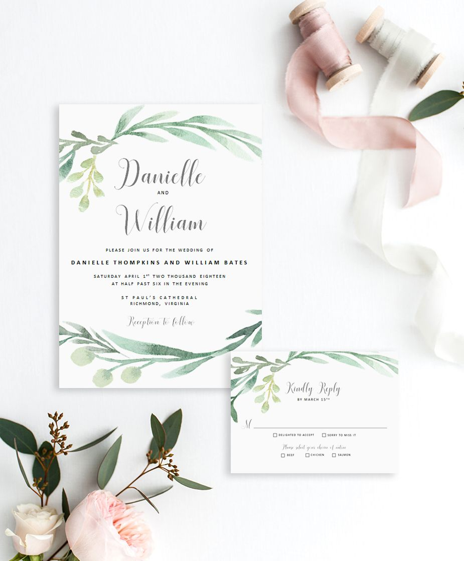 Watercolor Greenery Invitation Template Greenery Wedding