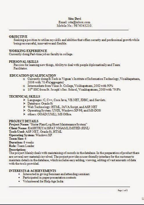 it resumes samples sample template example of excellentcv resume