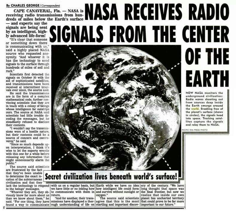 Nasa Receives Radio Signals From The Center Of The Earth Hollow
