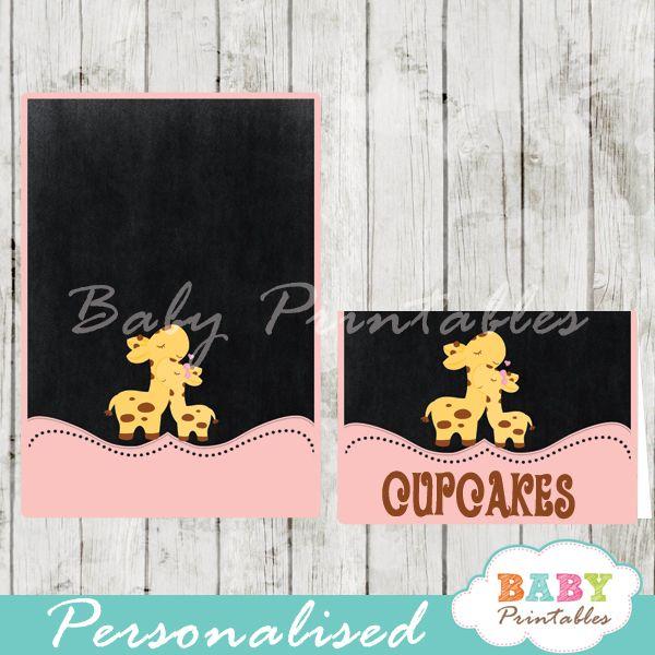 pink giraffe baby shower food tent cards d133
