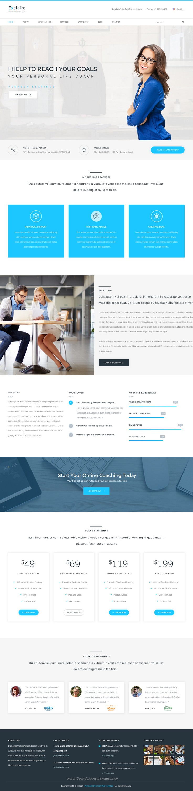 exclaire personal life coach psd template personal life coach