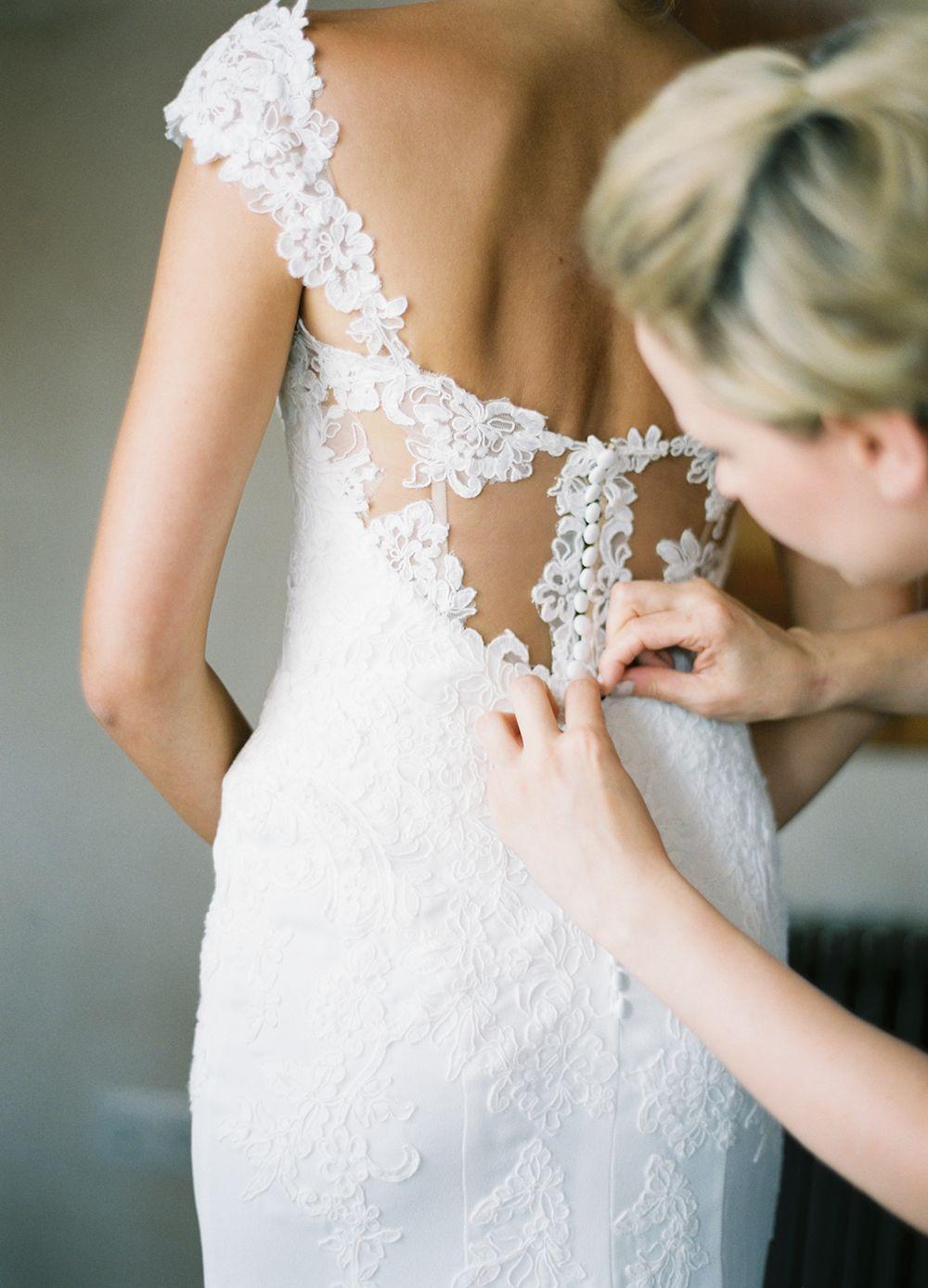 Spanish ruffle lace wedding dress