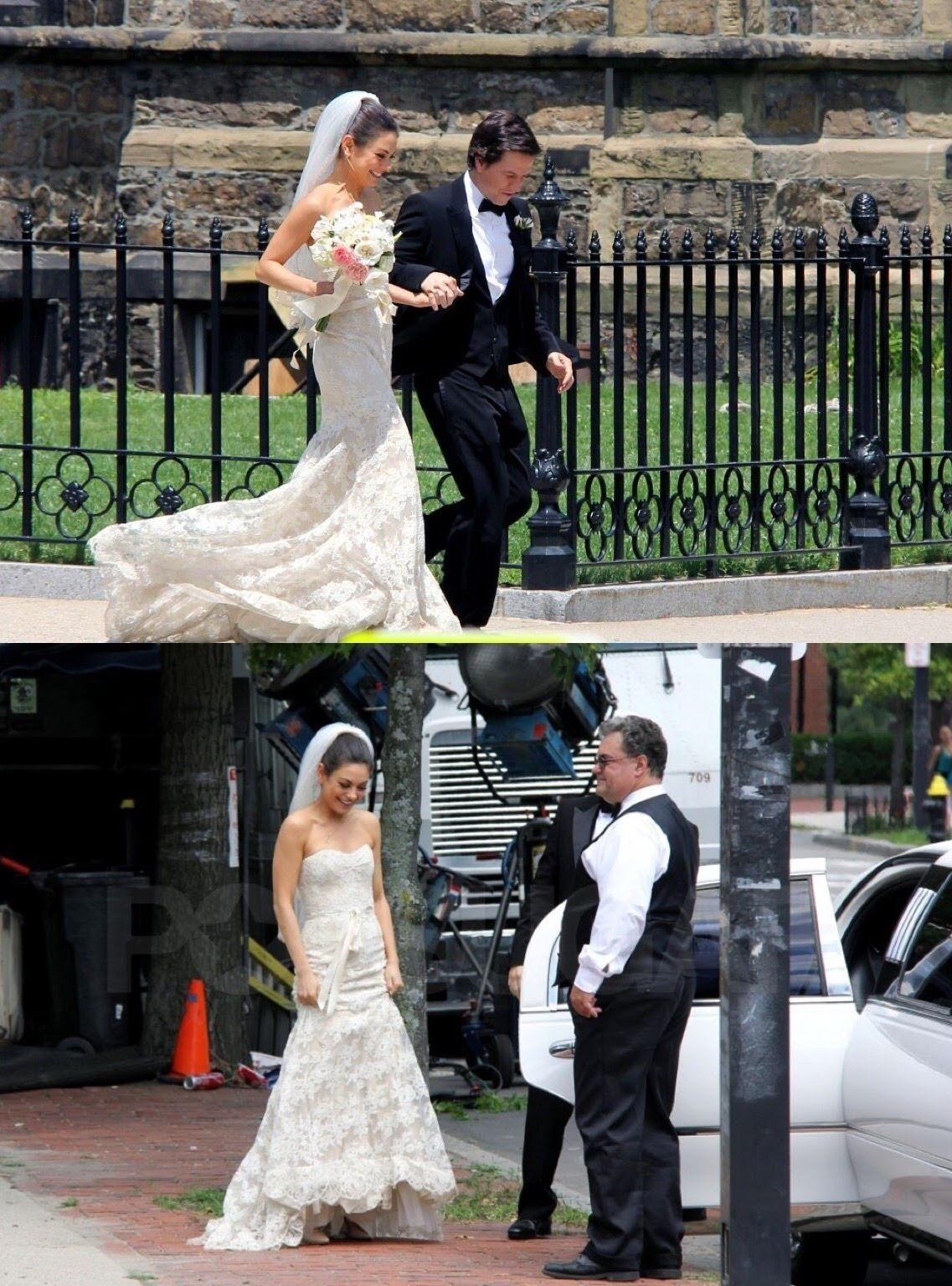 Mila Kunis In Wedding Scene Photo With Actor Mark Wahlberg In Character As Lori Collins In Ted 2012 Wedding Scene Wedding Photos Mermaid Wedding Dress