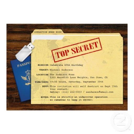 Assez Top Secret Agent Mission Surprise Party Invitation | Surprise  XL24