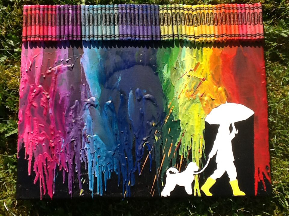 Girl And Cat Melted Crayon Art