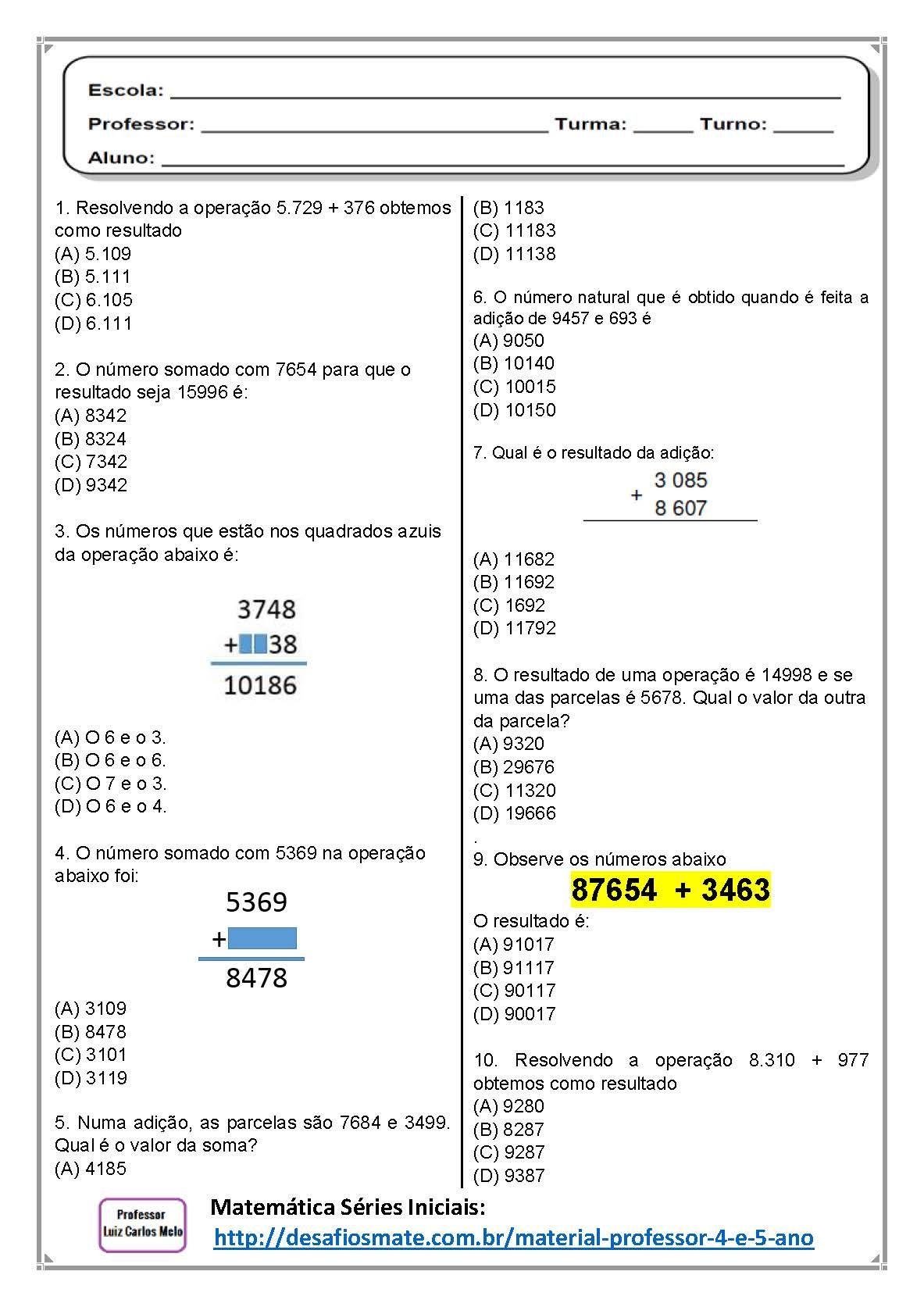 Atividades De Matematica 4º E 5º Ano Simulado De Matematica 4º E