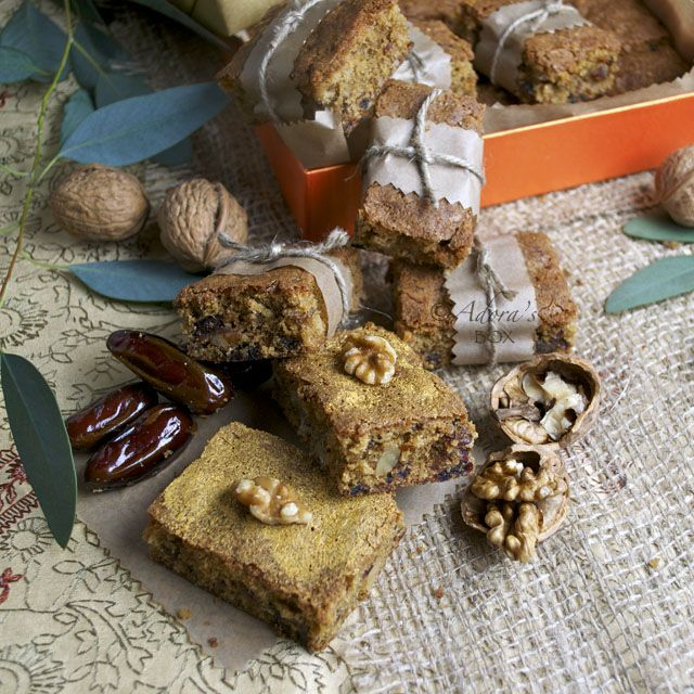 rich date and walnut bars called food for the gods