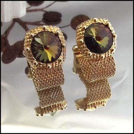 Vintage cufflinks swank topaz peridot rivoli crystals mens for What is swank jewelry