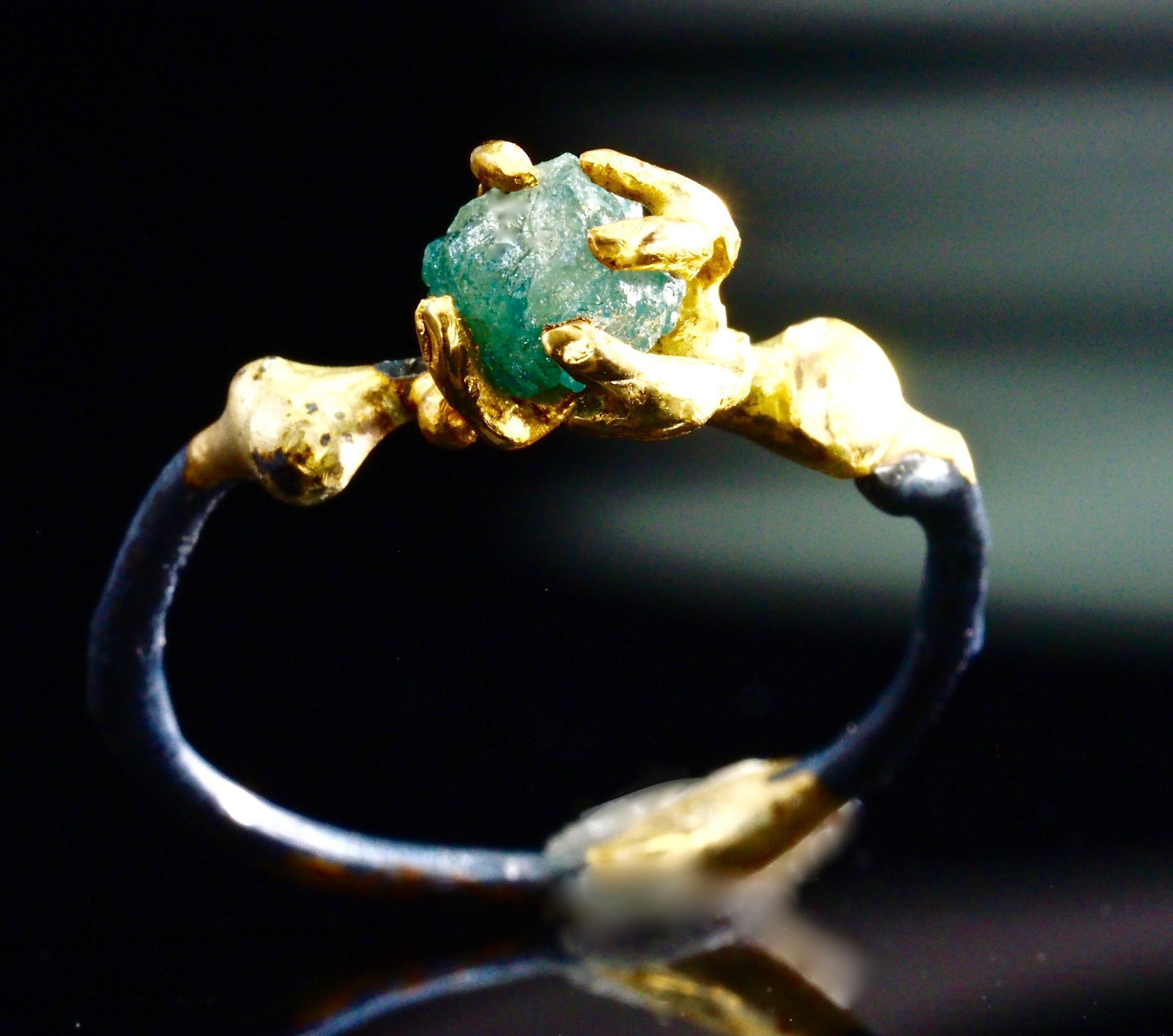 Rough Blue Diamond Gothic Engagement Ring Conflict free Uncut