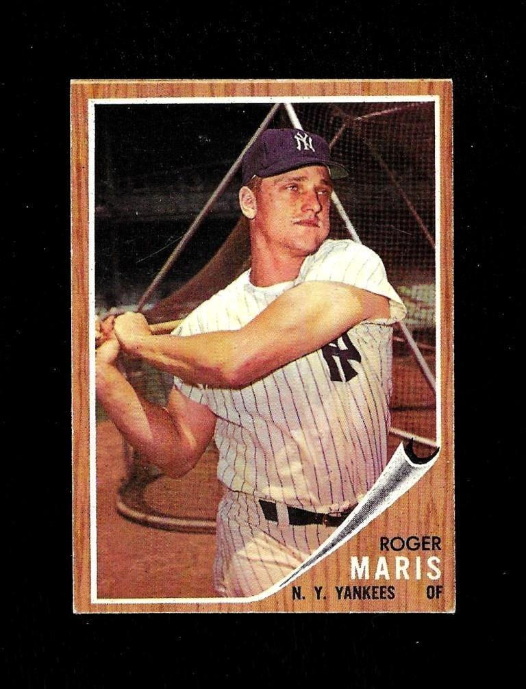1962 topps card 1 roger maris hof nm centered