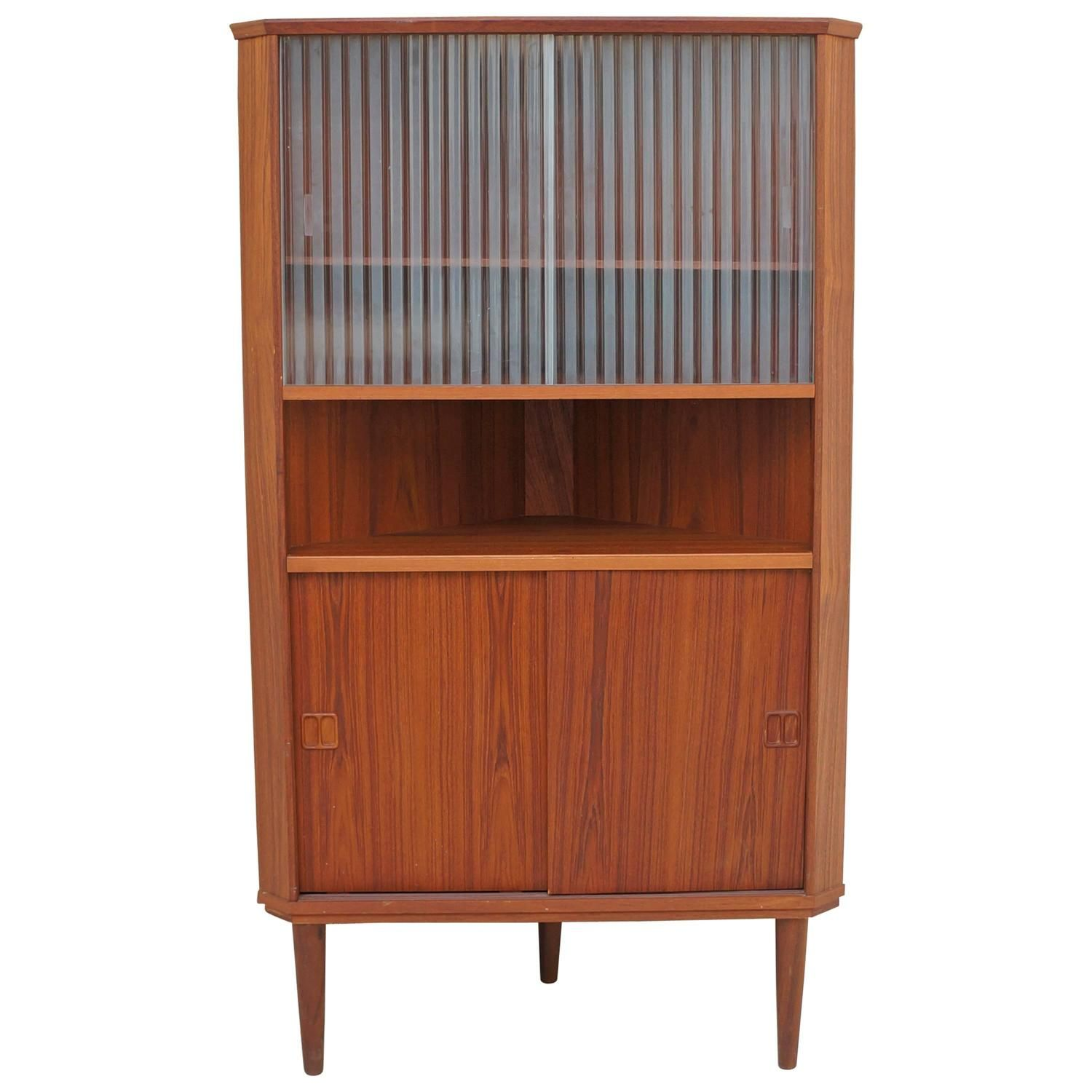 521 Danish Modern Teak Wooden With Glass Corner Cupboard Credenza,