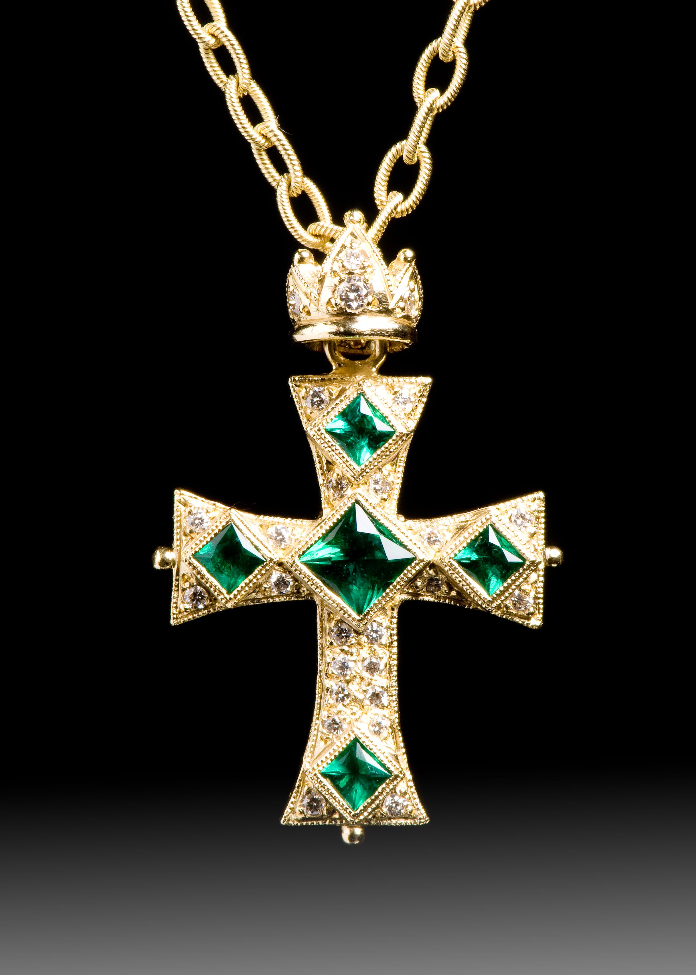 Jpratt designs custom designed and custom created yellow gold and jpratt designs custom designed and custom created yellow gold and emerald and diamond cross necklace audiocablefo