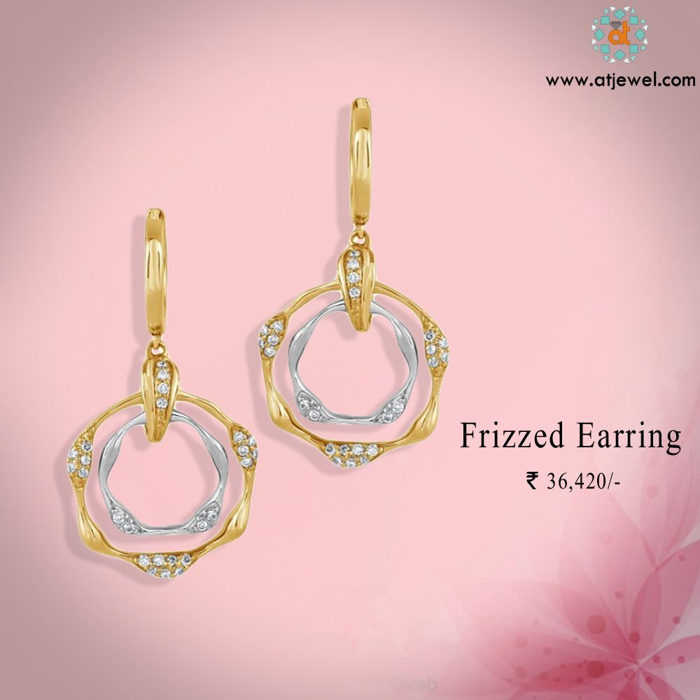 Design Of The Day......... Atjewel Introdcing There Beautiful Frizzed Diamond Earring.Which Is In Two Tone Design And Looks Pretty. #Atjewel #Diamond #Earring #Gold #LooksPretty  http://bit.ly/20tUcw1