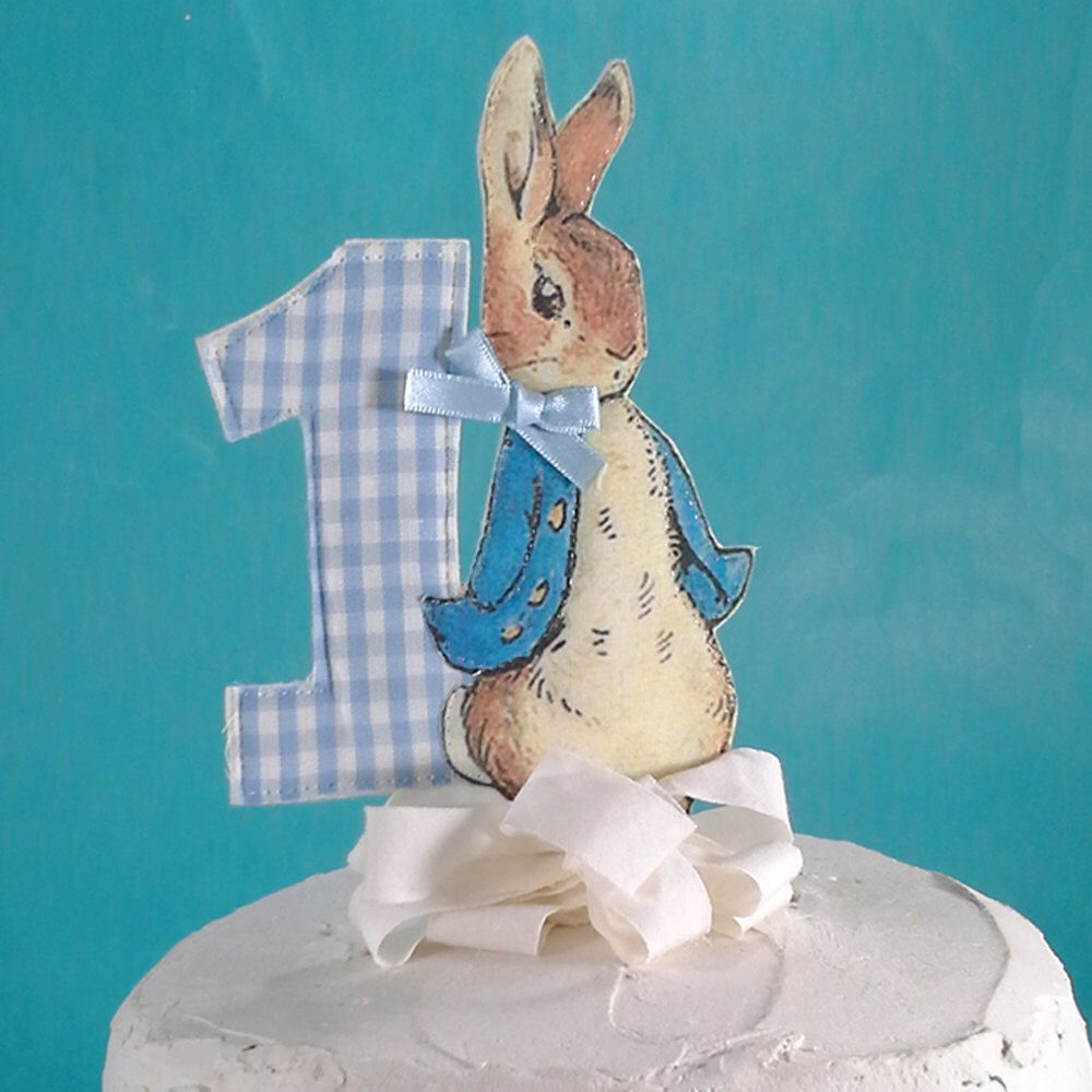 Shabby Chic Peter Rabbit cake topper, fabric Peter Rabbit First birthday party decoration G024 by Hartranftdesign on Etsy https://www.etsy.com/listing/526402138/shabby-chic-peter-rabbit-cake-topper