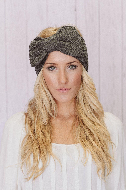 Knitting Headbands : Knitted bow headband oversized ear warmer in gray