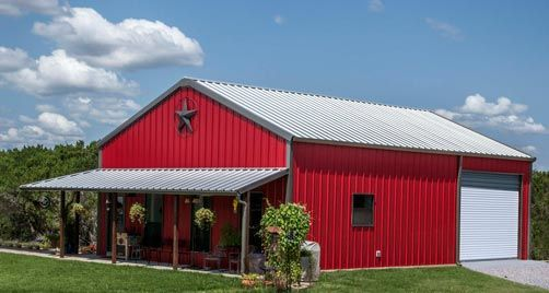 True American Dream Metal Building Barn Home W Wrap Around Porch Hq Pictures Metal Building Homes Red Barn House Building A House