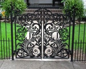 Beautiful Custom Garden Gate   Metal Garden Gate With Monogrammed Letter