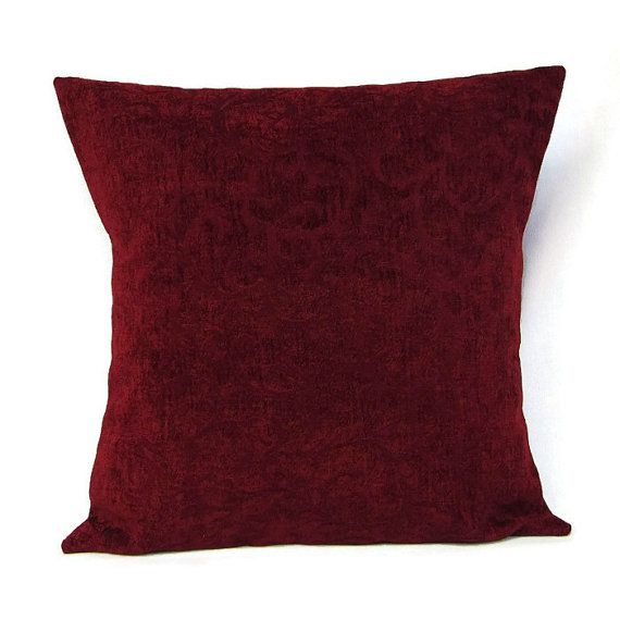 Velour Sofa 18x18 Burgundy Red, Throw Pillow Cover In A Luxurious