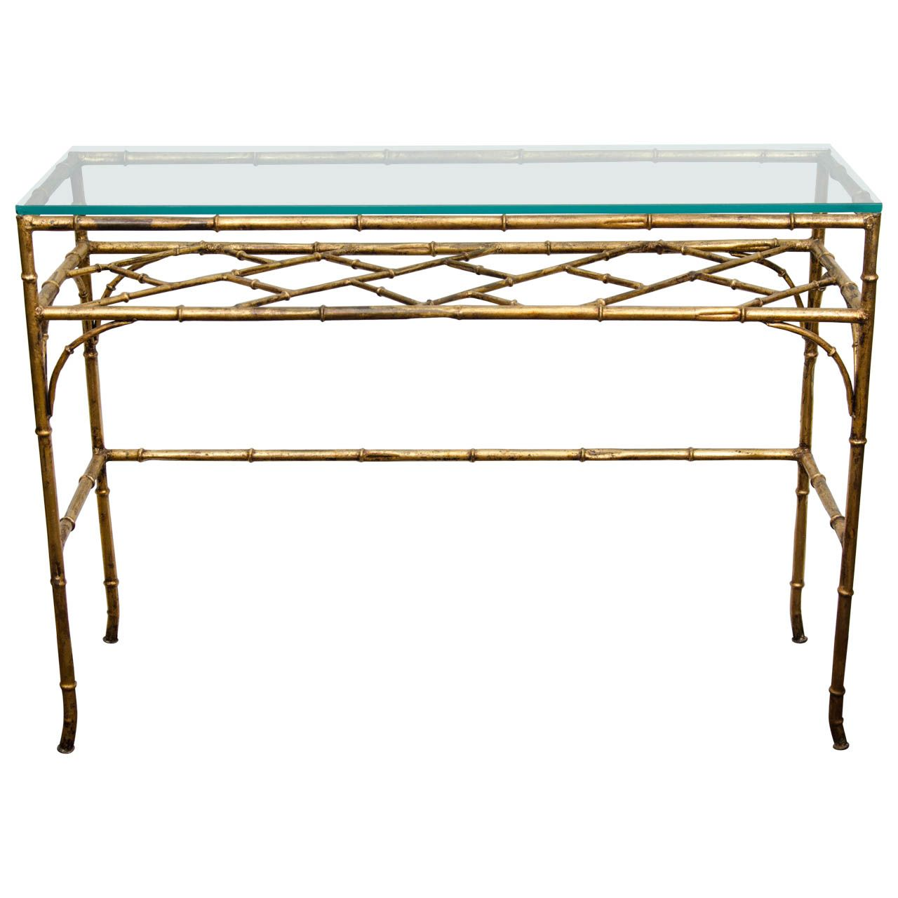 A Mid Century Glass and Faux Bamboo Console Table