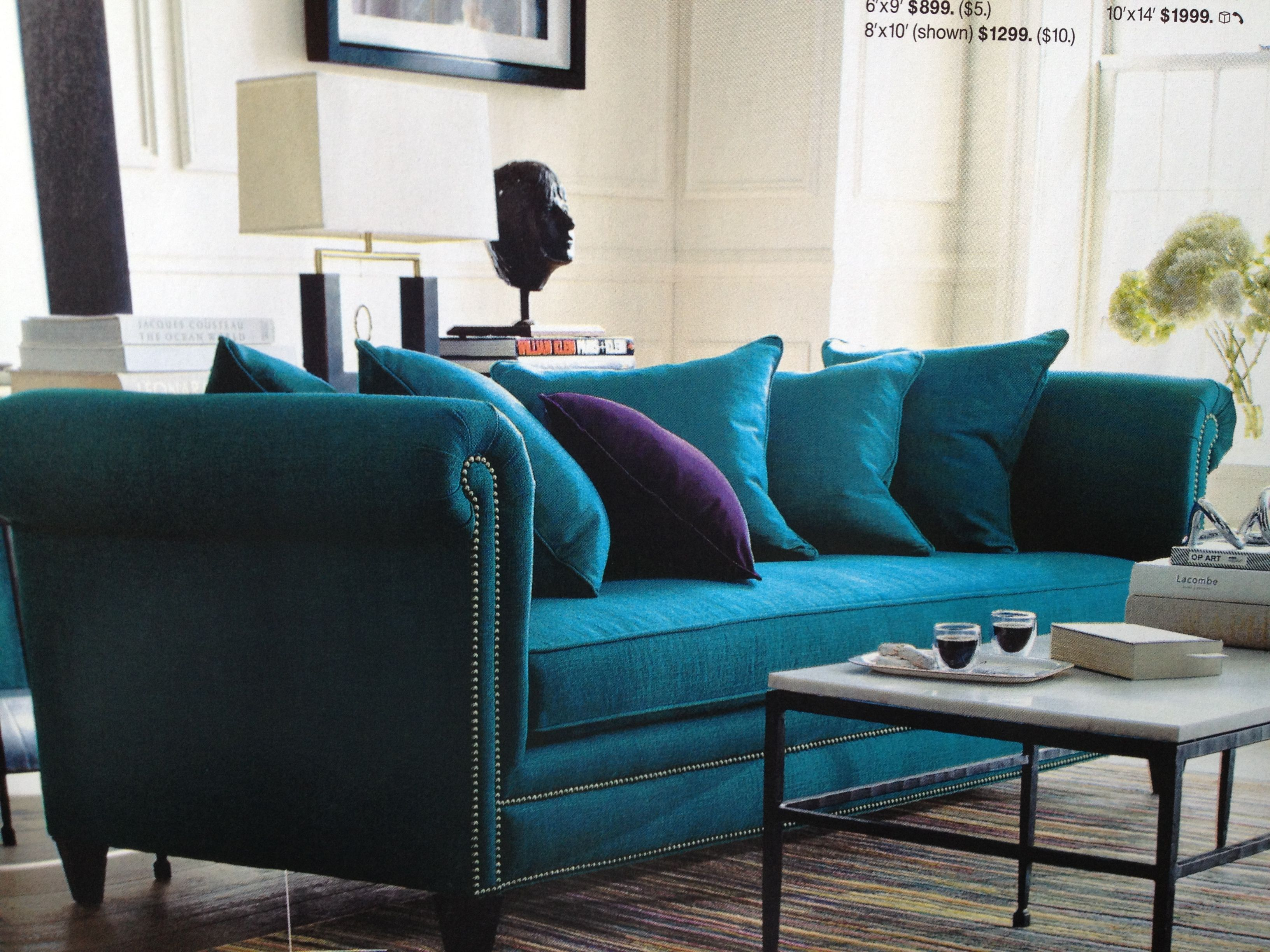 "Crate & Barrel Tailor Sofa in ""Peacock"""
