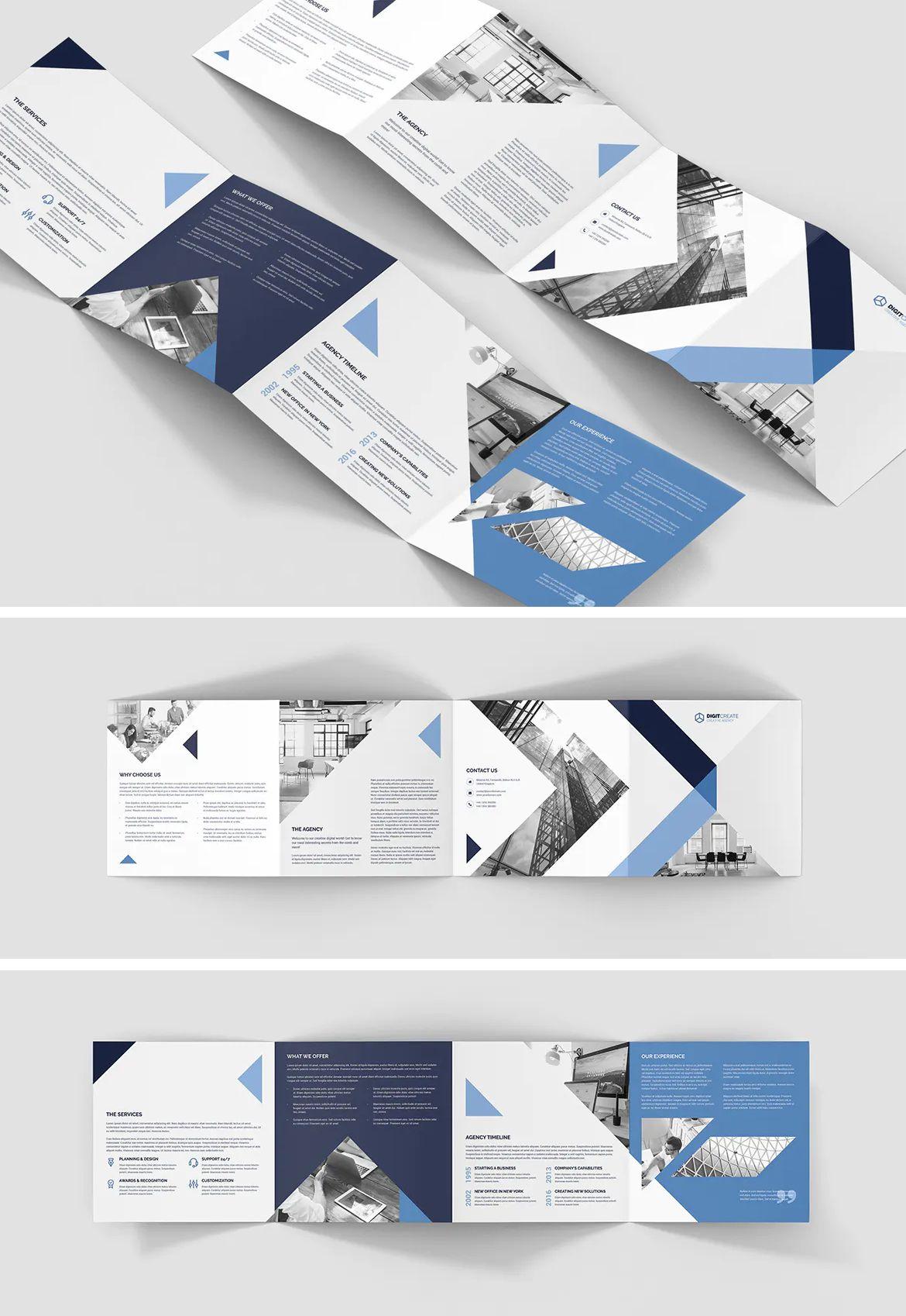 Digital Agency 4 Fold Square Brochure Template Psd Square Brochures Brochure Template Psd Brochure Template