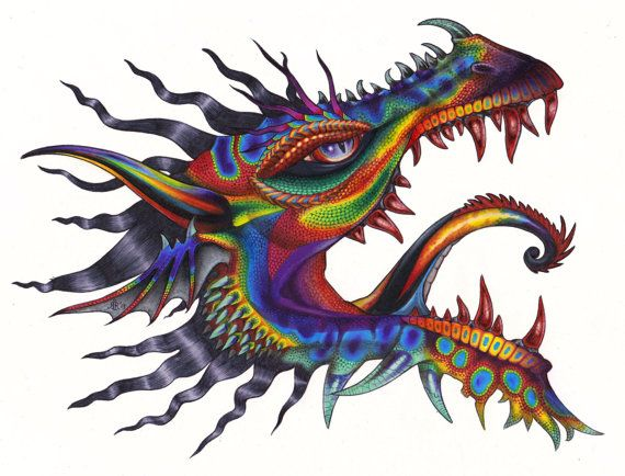 Rainbow Dragon Head Tattoo Flash Download Unique Art By Gadroon 15 00 Japanese Dragon Tattoo Meaning Dragon Head Tattoo Dragon Tattoo