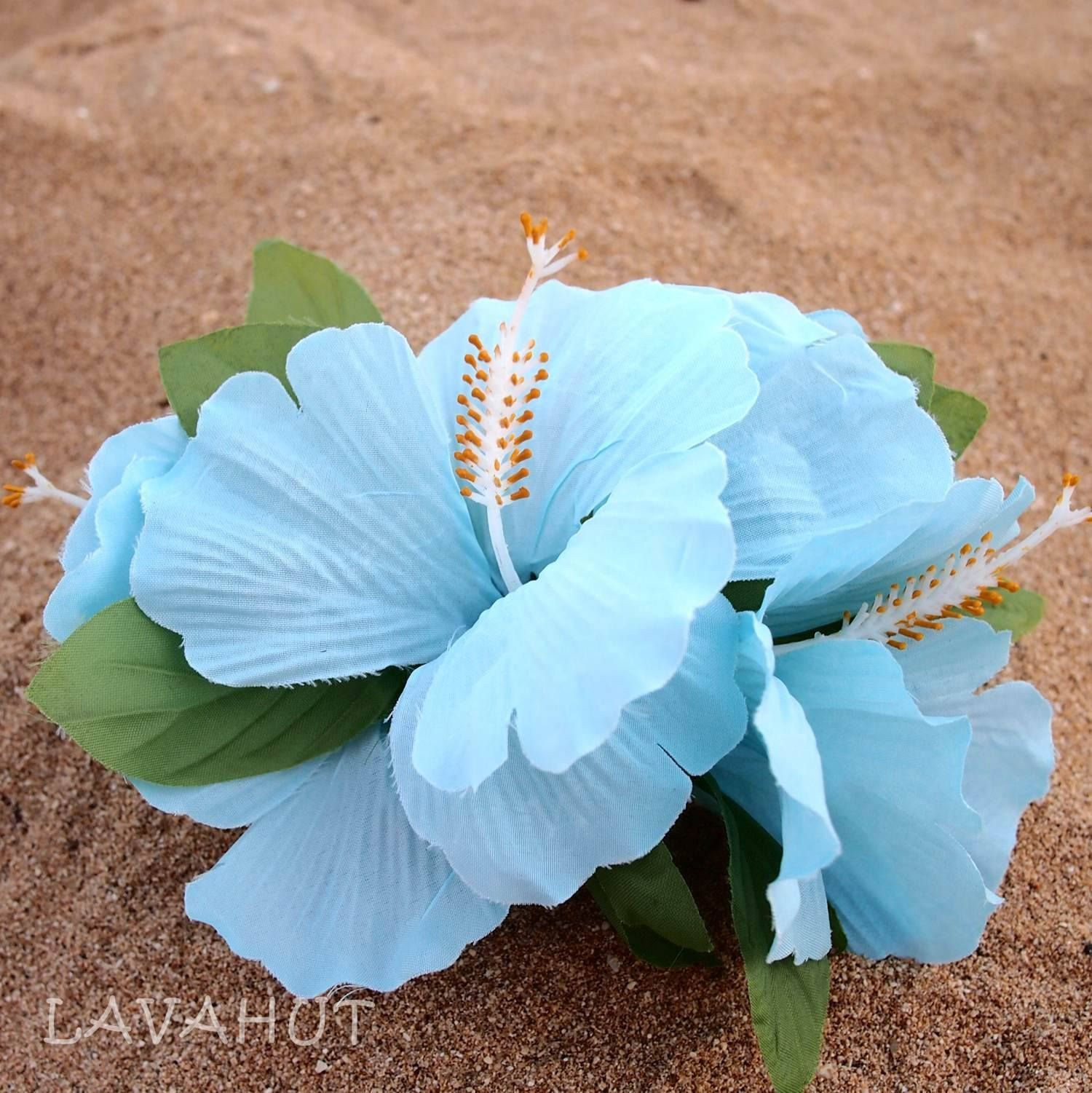 Hibiscus blue hawaiian flower hair clip pinterest hawaiian hibiscus flower hair clip to perfectly pull those locks back silk flower petals alligator clip flower length 6 clip length 375 izmirmasajfo